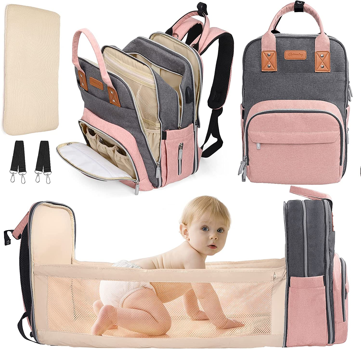 Large Baby Diaper Bag Backpack with Changing Station - new born baby girls gift - Baby Shower Gifts registry for Boy&Girls - baby Essentials&Stuff&Accessories for Girls Boys Men Dad Mom