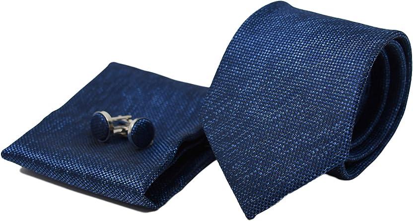 Corbata de hombre, Pañuelo de Bolsillo y Gemelos Azul Oscuro - 100% Seda - Clásico, Elegante y Moderno - (Caja y Conjunto de Regalo, ideal para una ...