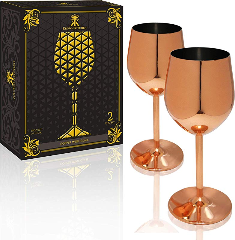 Krown Kitchen Copper Wine Glasses Perfect Gift For Family And Wine Connoisseurs