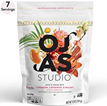OJAS STUDIO Date & Grain Energy Bites, Cardamom Cinnamon & Walnut, 7-serving resealable bag, 7.9oz, non-GMO, no artificial sweeteners