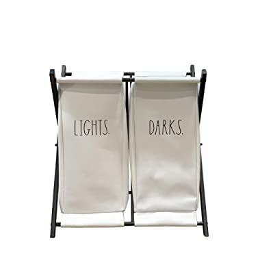 Rae Dunn Folding Laundry Hamper - Two Section Clothes Bin for Easy Divide of Lights and Darks - Foldable Basket for Bedroom, Bathroom, Nursery, Dorm - Metal and White Fabric Home Décor