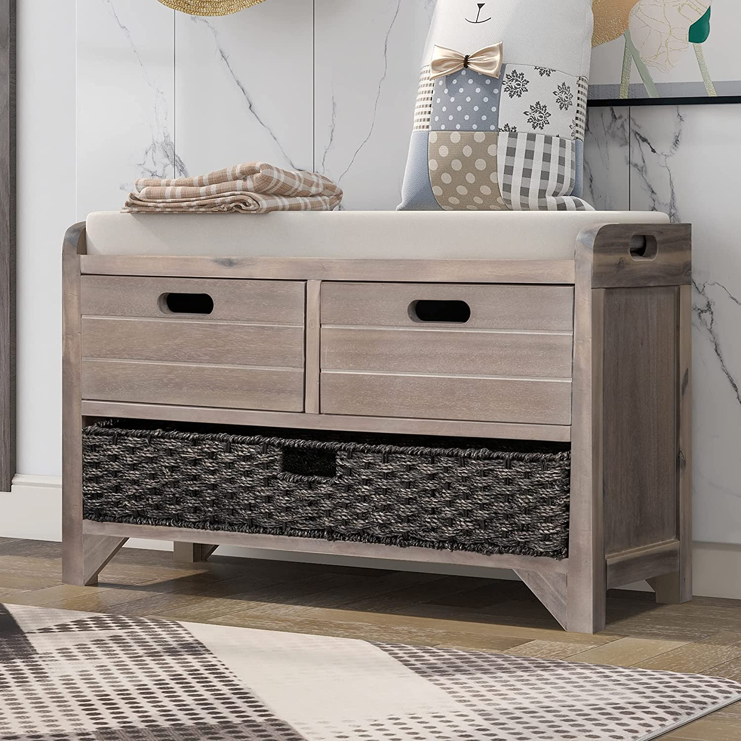 P PURLOVE Wood Storage Bench Homes quality assurance Collection Beauty products with 2 B Removable