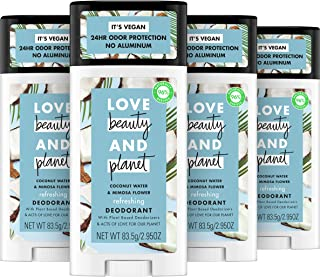 Love Beauty And Planet Deodorant Water and Mimosa Flower, Coconut, 2.95 Oz, Pack of 4