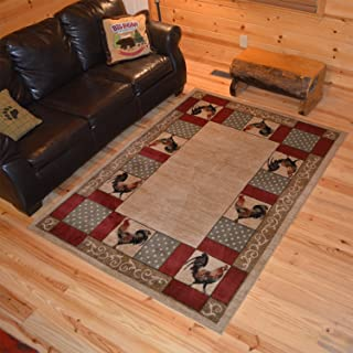 """Rug Empire Rustic Lodge Rooster Area Rug, Beige, 26"""" W x 39"""" L"""