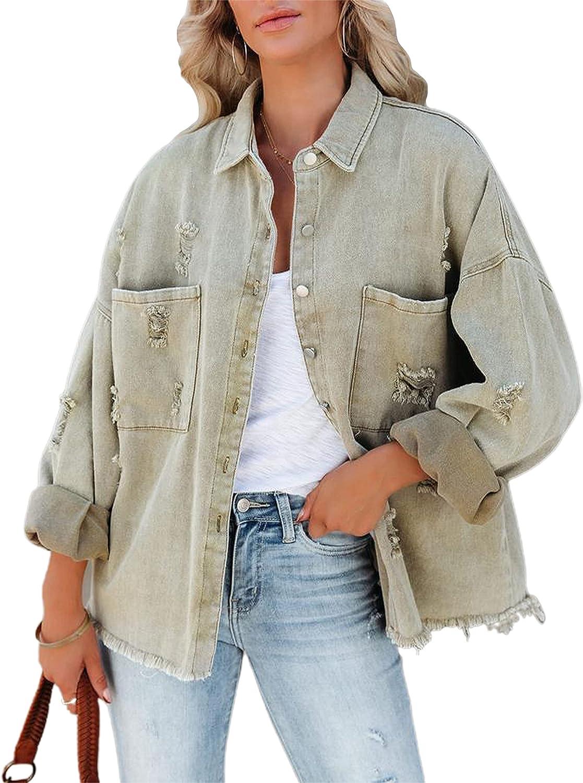 Hooever Women's Ripped Denim Jacket Boyfriend Drop Shouder Distressed Jean Jacket