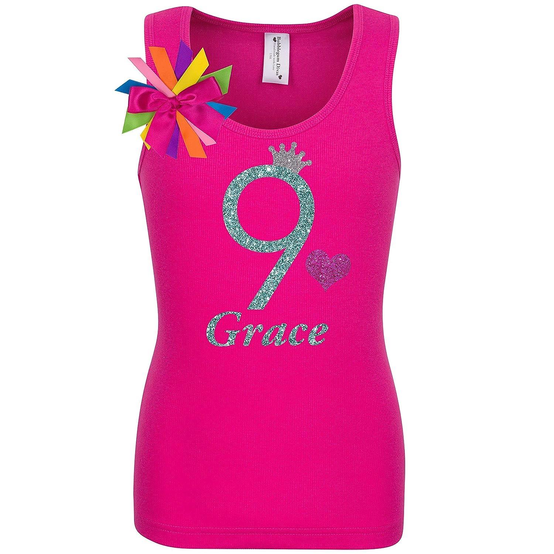 9th Birthday Girl Shirt Jade Glitter Hot R Tank Top Sales results overseas No. 1 Girls 9 Pink