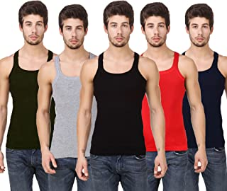 HAP Mens Gymvest/Pack of Five/Cotton Tanktop/Multicolor Innerwear
