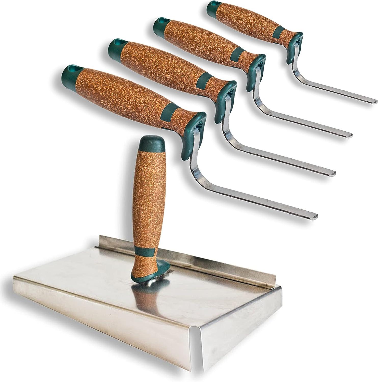 Chapa para juntas de acero inoxidable 245 x 155 mm, juego de chapa para juntas + paleta para juntas de 6 mm, 8 mm, 10 mm y mango de corcho de 12 mm