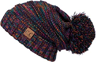 Hatsandscarf CC Exclusives Unisex Oversized Slouchy Beanie with Pom (HAT-6242POM)