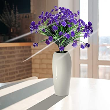 Darkduke 6Pcs Artificial Flowers, Fake Outdoor UV Resistant Plants Faux Plastic Greenery Shrubs Bushes Indoor Outside Hanging