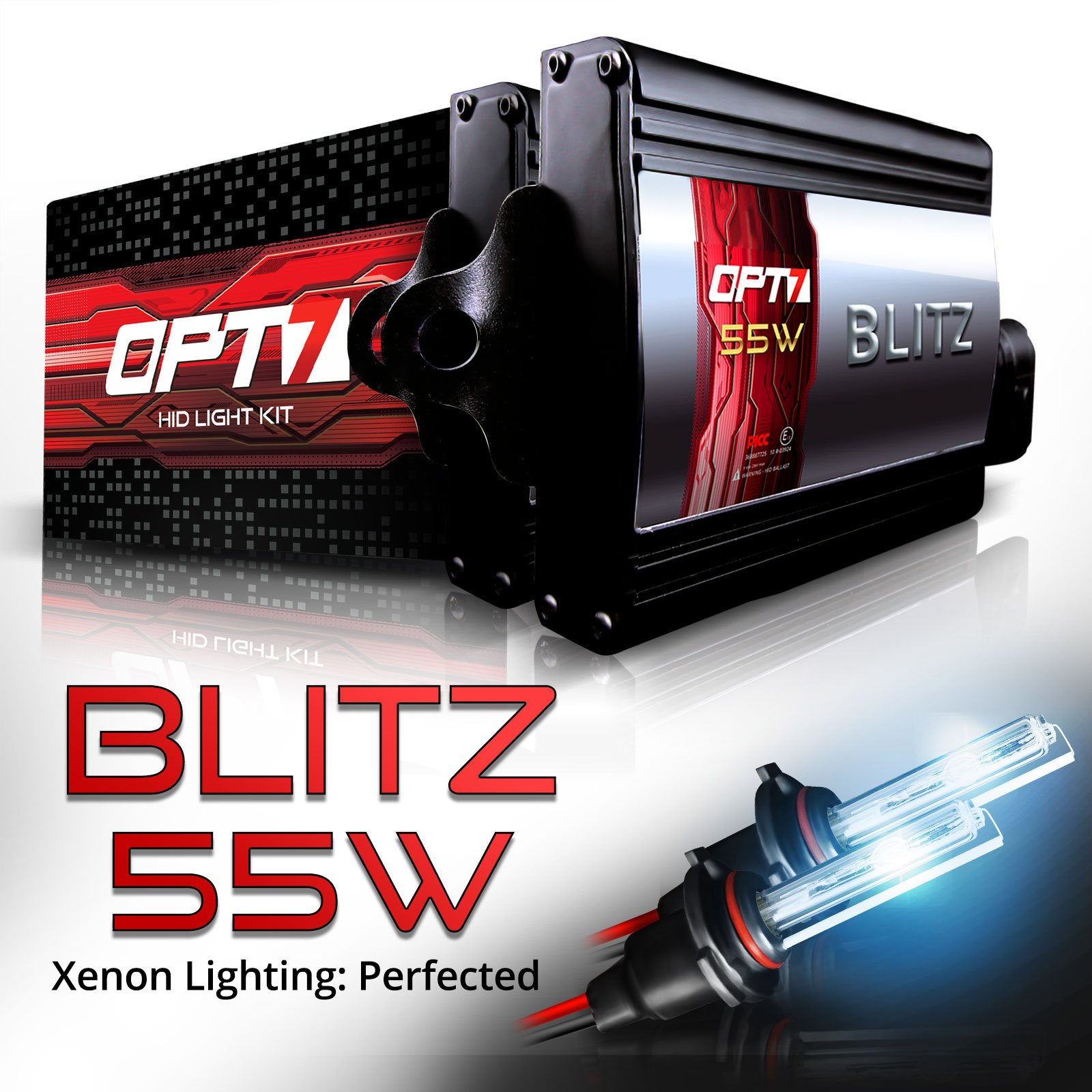 5X Brighter 2 Yr Warranty All Bulb Colors and Sizes 4X Longer Life 6000K Lightning Blue Xenon Light OPT7 Blitz 55W H3 HID Kit