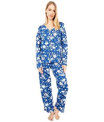 Karen Neuburger Soiree Long Sleeve Cardigan PJ (Navy Peony Floral) Women