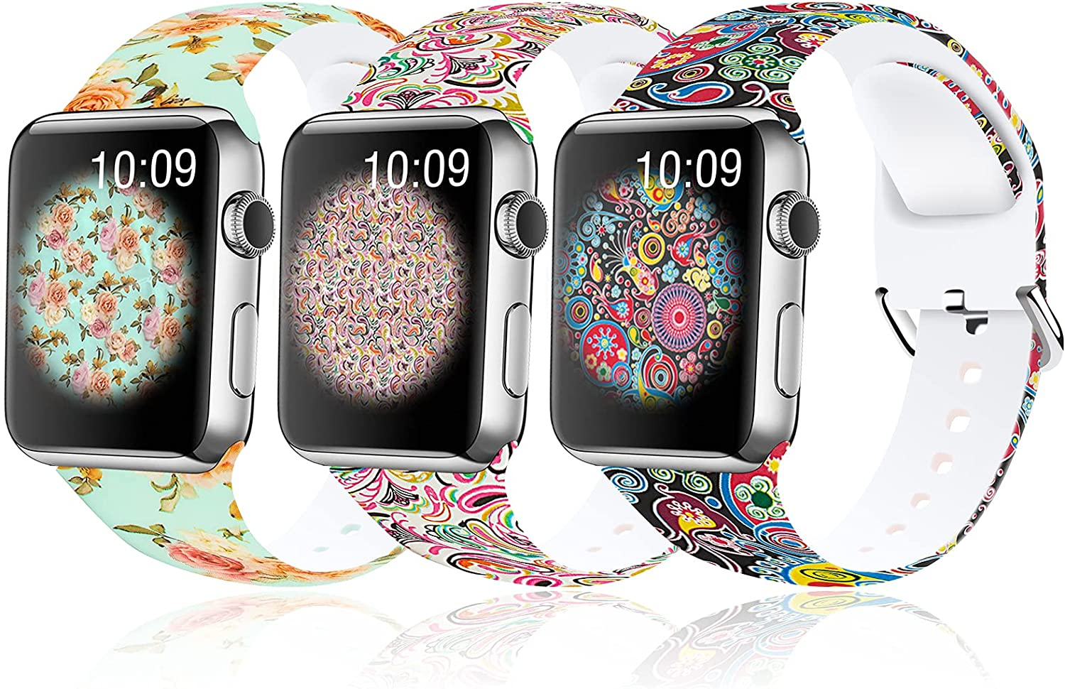 3 Pack Sports Band Compatible with Apple Watch Bands 40 mm 38 mm 42 mm 44 mm, Suitable for Men and Women, Tie Dye Printed Pattern Silicone Non-Fading Replacement Band for apple watch series 3 SE 6 5 4 2 1