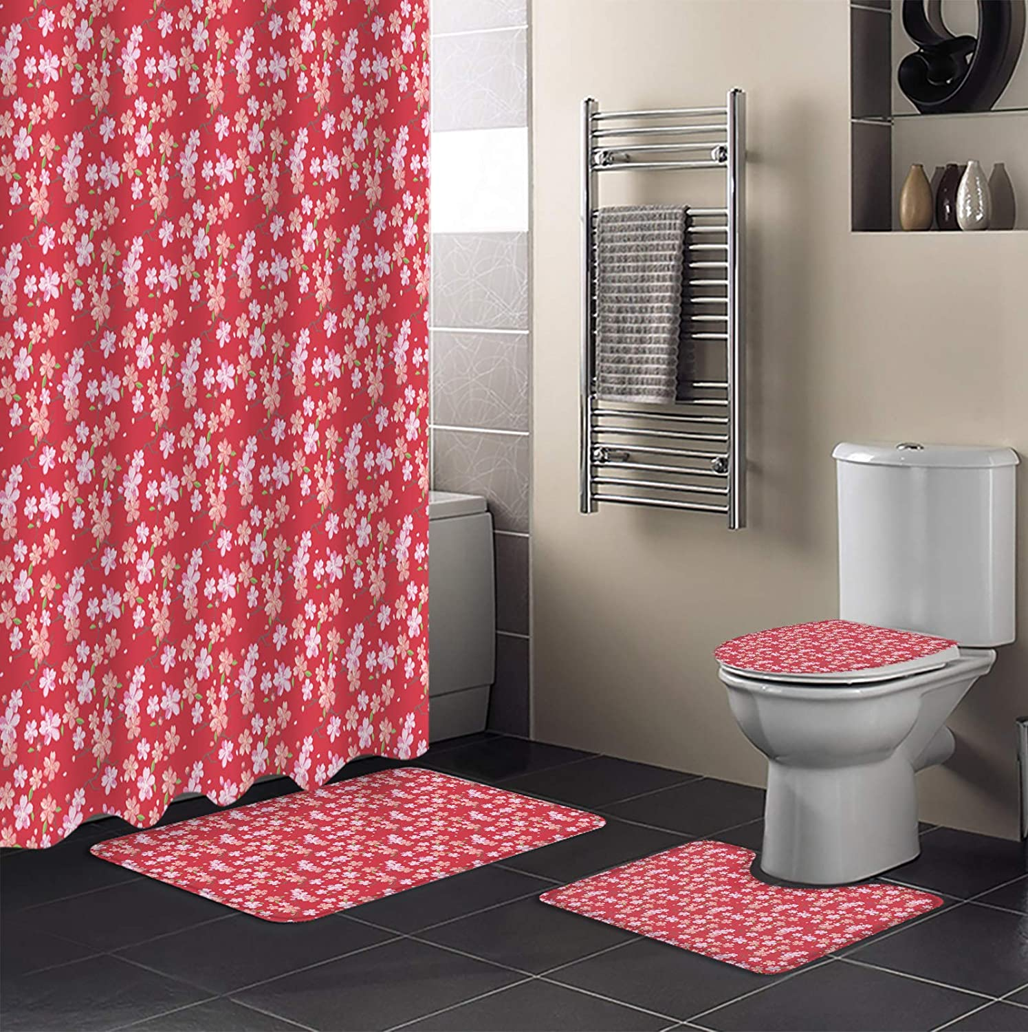 MUSEDAY 4 New item Piece Shower Curtain Sets L All items in the store Rugs Non-Slip Toilet with