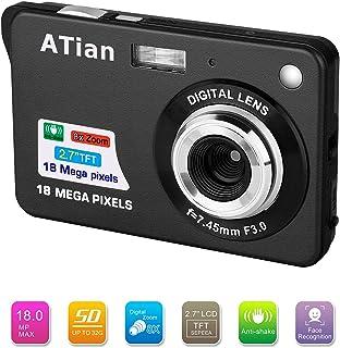 ATian Compactas Cámaras Digitales 2.7 Pulgadas LCD 8X Zoom Digital Anti-vibración Recargable HD Cámara Digital para Estudiantes/Adultos Mayores/niños (Negro)