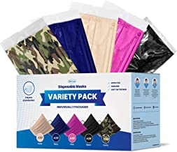 WeCare Disposable Face Mask Individually Wrapped - 50 Pack, Variety Color Face Masks - Soft on Skin - 3 Ply Protectors wit...