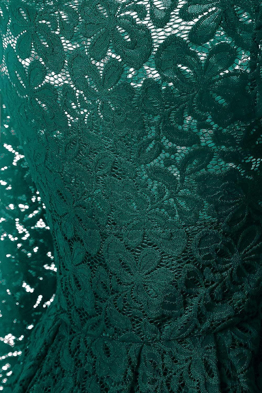 NALATI Damen Spitzenkleid Retro 50s Schulterfrei Langarm Knielang festlich Abendkleid Cocktailkleid Grün