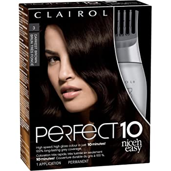 Clairol Nice N' Easy Perfect 10 Hair Coloring Tools, 3 Darkest Brown