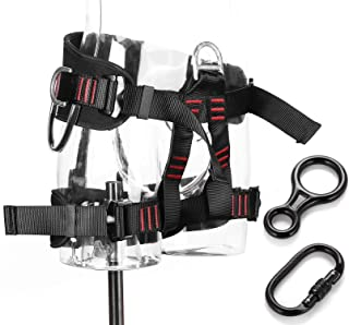 Ryhpez Half Body Climbing Harness - Professional Mountaineering Safety Harness/Belt with Carabiner Descender for Rock Climbing Fire Rescuing Rappelling Outward Bound