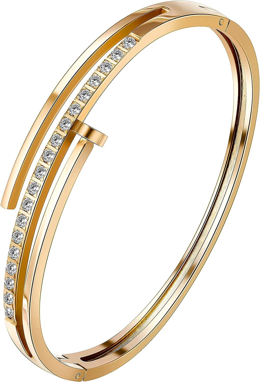 Stashix Bangle Bracelet for Women Titanium SALENEW very popular OFFicial site Nail with Steel Cuff