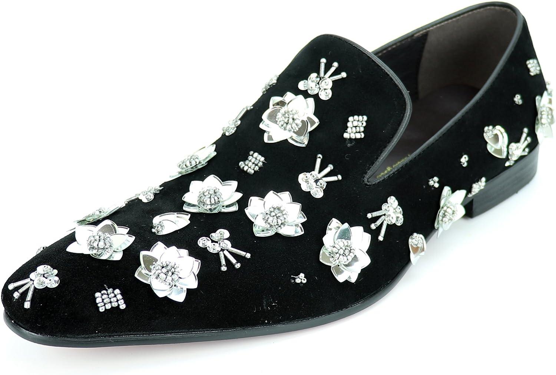 Fieso Fieso Fieso av Aurelio Garcia FI -7272 svart mocka silver Flowers Slip on Loafer - European skor Designs  spara 35% - 70% rabatt