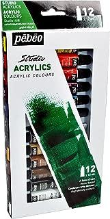Pebeo Studio Acrylics High Viscosity, Fine Acrylic, Set of 12 x 12 ml Tubes