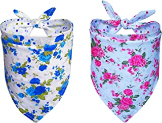 DOGSAYS Dog Bandanas 2PCS Triangle BibsScarf Kerchief Accessories for Small Medium Large Dogs Reversible Patterns Printed Neckerchief Set for Girl Dogs Pet
