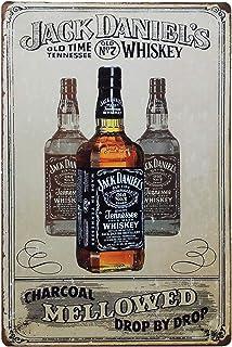TISOSO Jack Daniels Vintage Style Blechschild Blechschild Posterplatte Whiskey Wanddekoration Heimgeschenk 30,5 x 20,3 cm