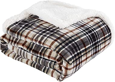 Touchat Sherpa Plaid Throw Blanket, Fuzzy Fluffy Cozy Soft Blanket, Fleece Flannel Plush Twin Size Microfiber Blanket for Cou