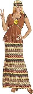 WIDMANN?Disfraz Adulto Hippie para Mujer, Vestido con Chaleco, Falda, Cinta para el Pelo, Cadena con símbolo de la Paz