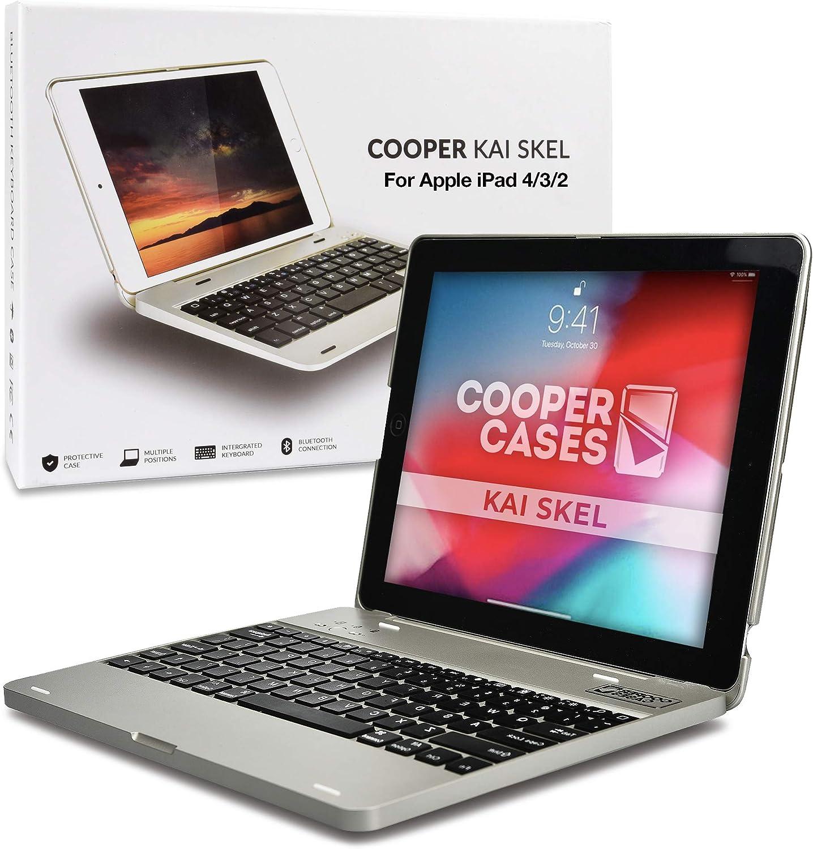 Cooper Kai SKEL P1 [Bluetooth Wireless Keyboard] Case for iPad 4, iPad 3, iPad 2   Clamshell Cover, Built-in 2800mAh Powerbank, 12 iPad Hotkeys