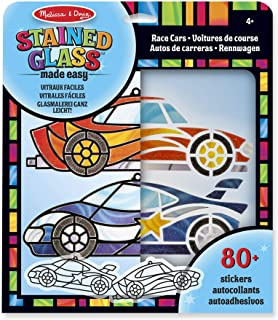 Melissa & Doug Stained Glass Made Easy Activity Kit, Race Cars (Arts and Crafts, Develops Problem Solving Skills, 80+ Stickers)
