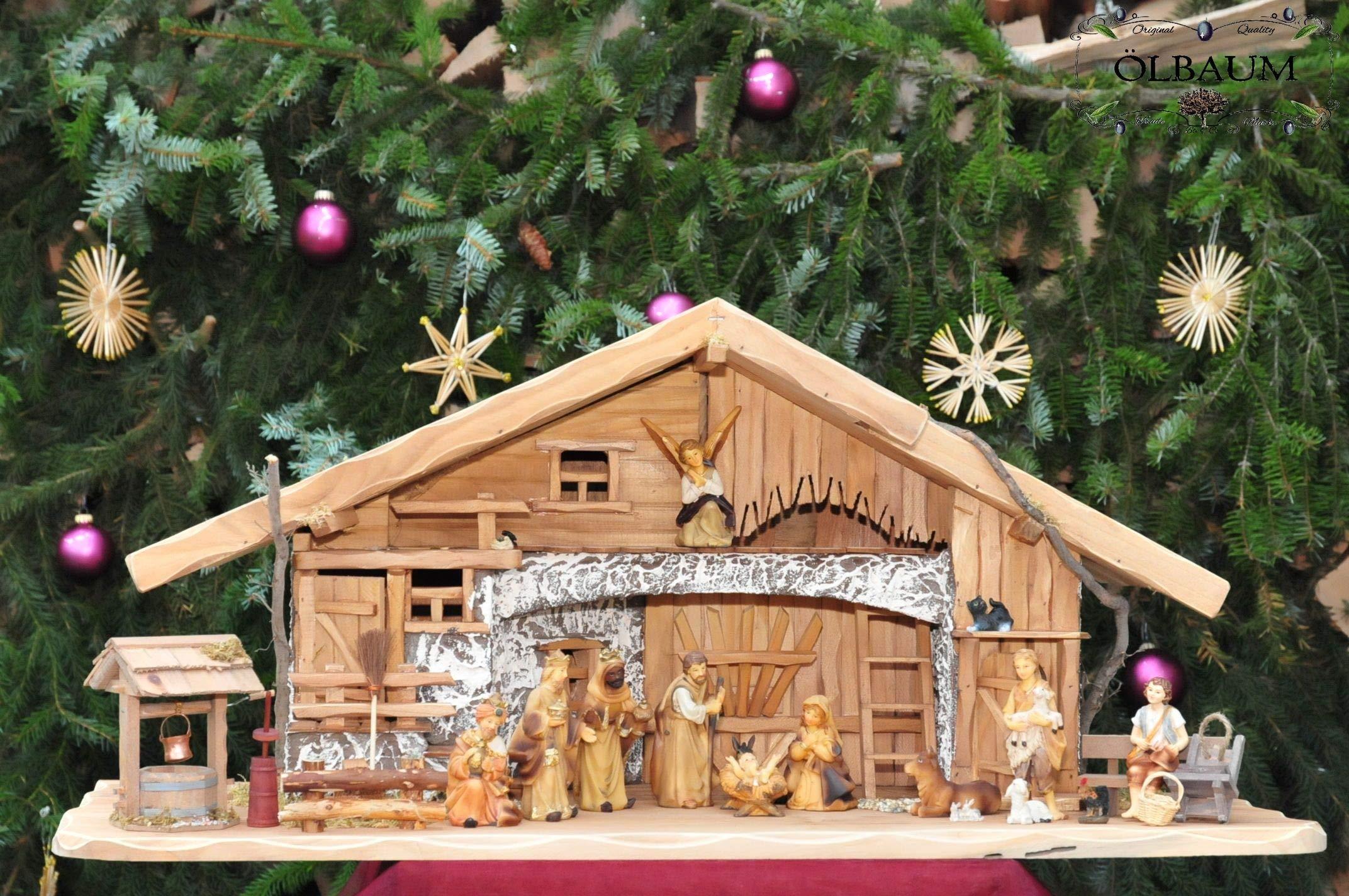 Figuras de nacimiento con pozo KFKHO-ALP Belén, de calidad, barnizada en marrón Holzfiguren-Stil, max, 9-10cm grande, con figuras decorativas, diseño y ejecución: Belén de Navidad historia Maria José Reyes Magos de Oriente: