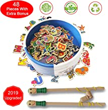 Petitoy Magnetic Wooden Fishing Game Toy Extra Puzzle Learning Game 2 3 4 Year Old Boy or Girl Catching Counting Animals Letters Numbers Educational Board Learning Game Magnetic Poles Toddler