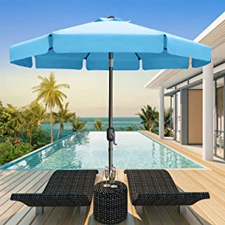 MASTERCANOPY Patio Umbrella OutdoorMarket Table Umbrella with Ruffles, 8 Sturdy Ribs (2.7M, Turquoise)