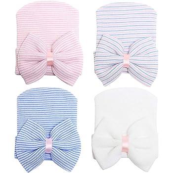 2019 Cute Baby Girls Infant Striped Cap Hospital Newborn Soft Bow Beanie Hat New