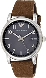 Emporio Armani Men's 'Fashion Watch' Quartz Stainless Steel and Leather Casual, (Ar11070), Brown Band, Analog Display