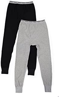 Fruit of the Loom Men's 2 Pack Classic Midweight Waffle Thermal Bottoms