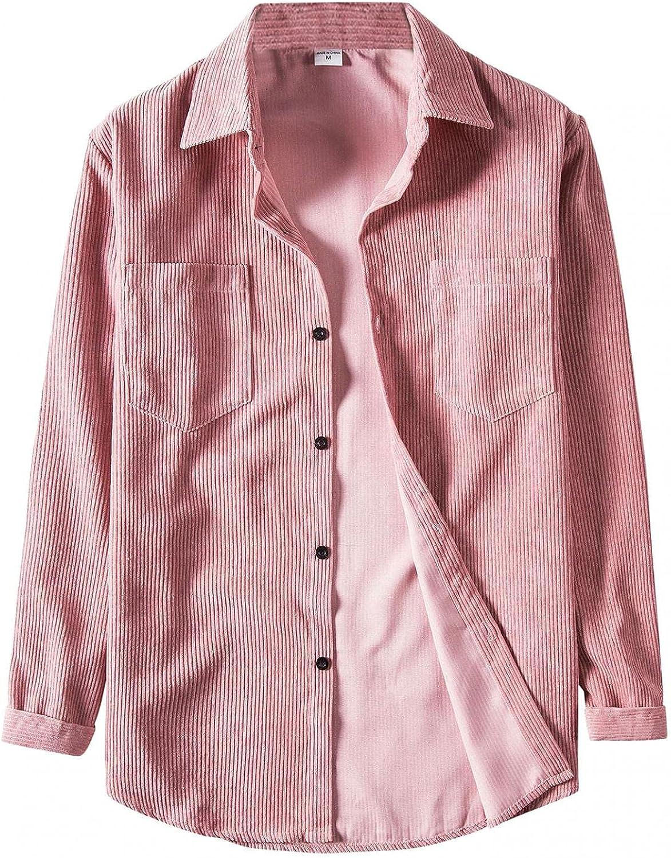 Aayomet Corduroy Shirts for Men Casual Long Sleeve Button Down T-Shirt Plain Pocket Loose Beach Yoga Sport Tee Shirts Tops