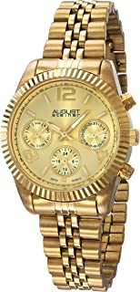 August Steiner Women's Classic Coin Edge Bezel Watch - Dial with Day of Week, Date, and 24 Hour Subdial on Tone Stainless Steel Jubilee Bracelet