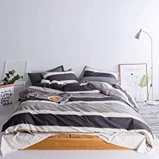 SUSYBAO 3 Piece Duvet Cover Set 100% Cotton King Size Striped Bedding Set with Zipper Ties 1 Gray Geometric Duvet Cover 2 Pillowcases Hotel Quality Soft Comfortable Lightweight Easy Care