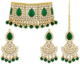 Aheli Faux Pearl Choker Necklace with Earrings Indian Traditional Bollywood Jewelry Set for Women Girls