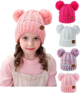 Urban Virgin Baby Girl Kids Hats Infant Toddler Beanies Cable Knit Pom Pom Ears Winter Cap Hats for Girls 2-7 Years