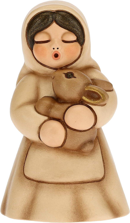 THUN - Figura de pesebre para mujer con conejo – Decoración navideña para casa – Línea de pesebre clásica, variante beige – Cerámica – 5 x 5 x 8 h cm
