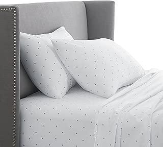 Pinzon 170 Gram Flannel Cotton Bed Sheet Set, Queen, Grey Dot