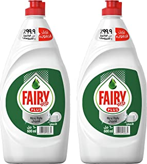 Fairy Plus Original Dishwashing Liquid Soap With Alternative Power To Bleach, 600 ml, Dual Pack