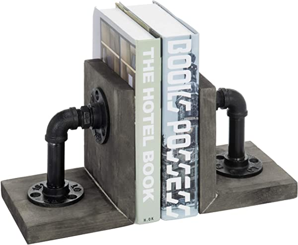 MyGift Industrial Pipe Gray Wood 6 Inch Metal Bookends 1 Pair