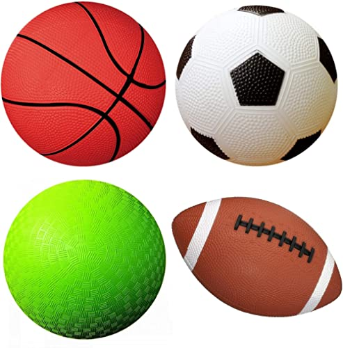 "AppleRound Pack of 4 Sports Balls with 1 Pump: 1 Each of 5"" Soccer Ball, 5"" Basketball, 5"" Playground Ball, and 6.5"" ..."