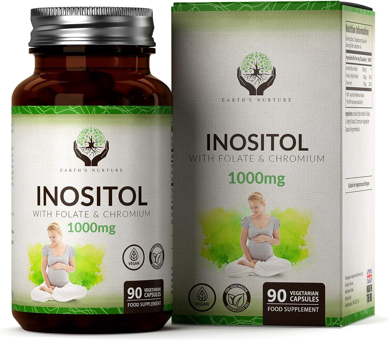 EN Myo Inositol 1000mg Acido Folico 200mg & Cromo 100mg | 90 Cápsulas Veganas | Para Apoyar la Salud de la Mujer | Hecho en el RU en Instalaciones con Licencia ISO | Sin OGM, Gluten o Lácteos
