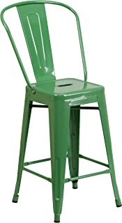"""Flash Furniture Commercial Grade 24"""" High Green Metal Indoor-Outdoor Counter Height Stool with Removable Back"""